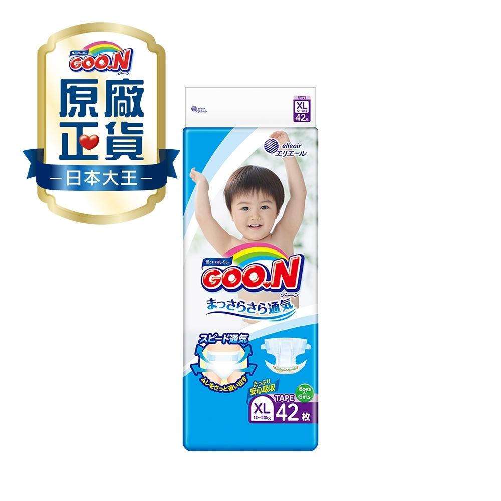 日本大王 日本境內版-黏貼型紙尿褲(XL)-42片x4包/箱-透氣舒柔