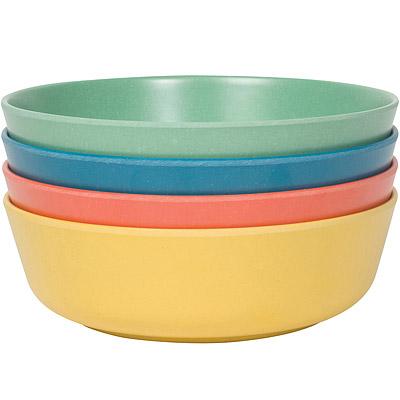 NOW Ecologie竹纖維淺餐碗4入(綠藍橘黃)