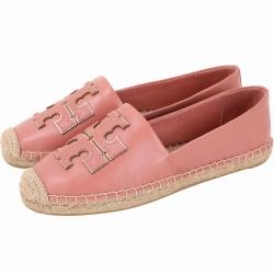 TORY BURCH 金屬色鑲邊納帕牛皮草編鞋