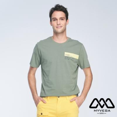 MYVEGA MAN落肩壓線印花短袖T恤-墨綠