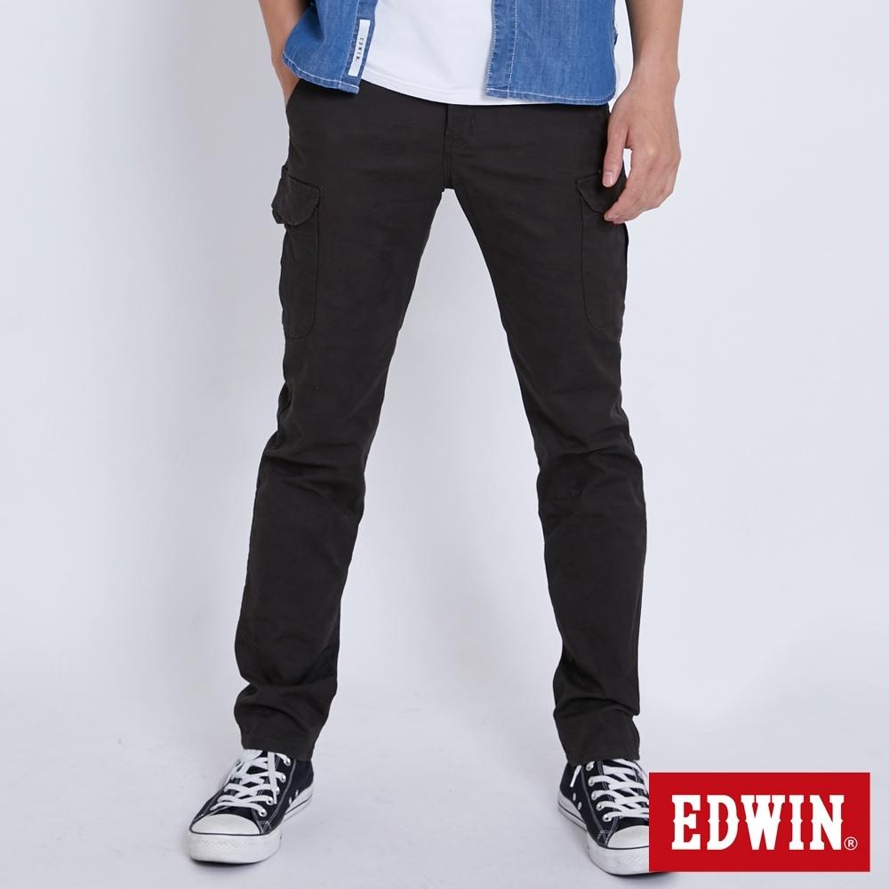 EDWIN KHAKI 迷彩休閒口袋工作褲-男-墨綠色