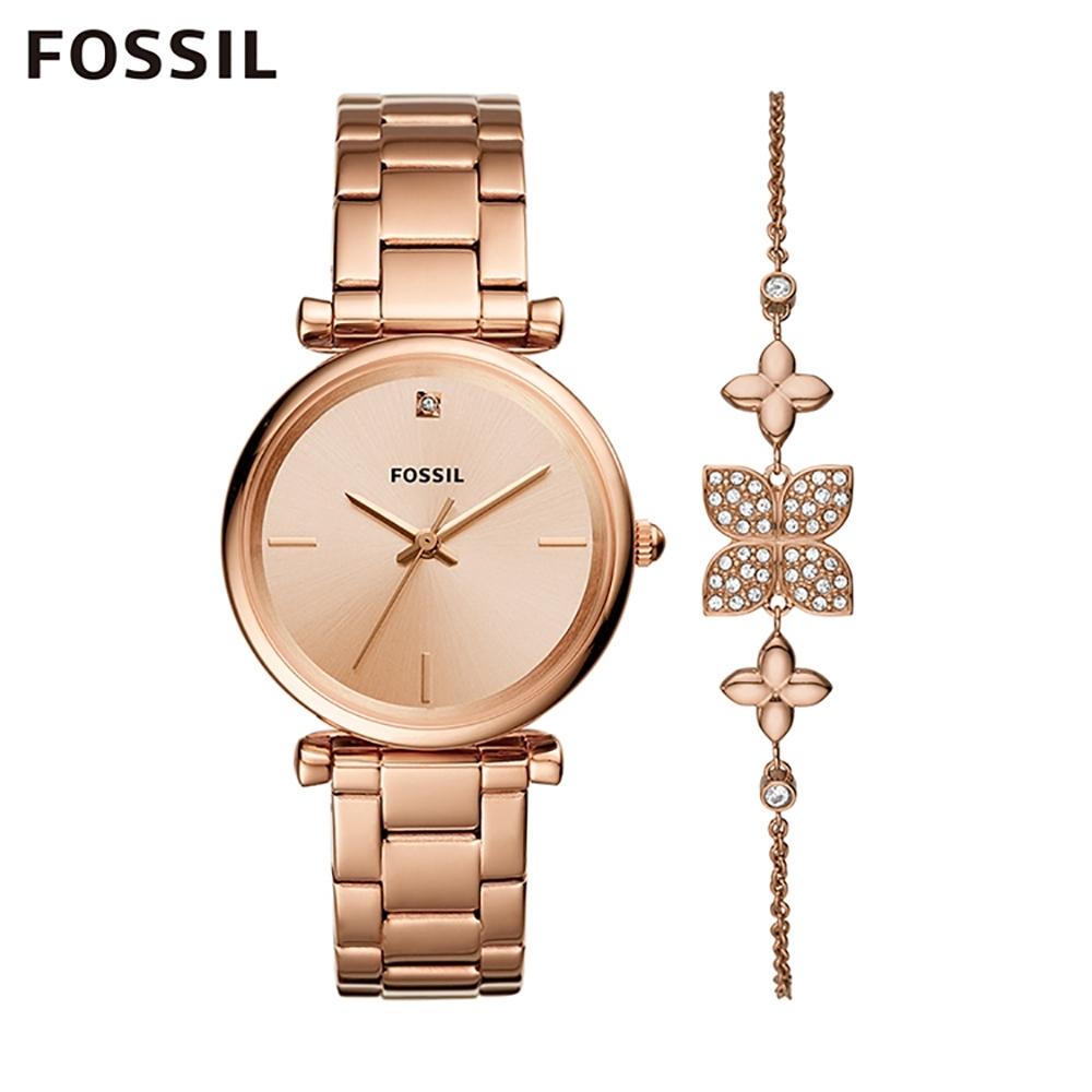 【FOSSIL】 CARLIE 靚亮女孩鍊帶女錶手鍊組-玫瑰金 35MM ES4685SET