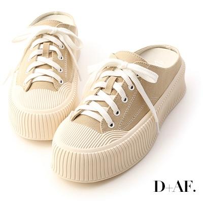 D+AF 樂活主題.休閒帆布厚底穆勒鞋*綠