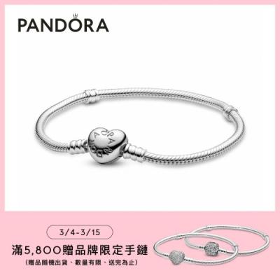 【Pandora官方直營】Moments愛心釦頭手鏈