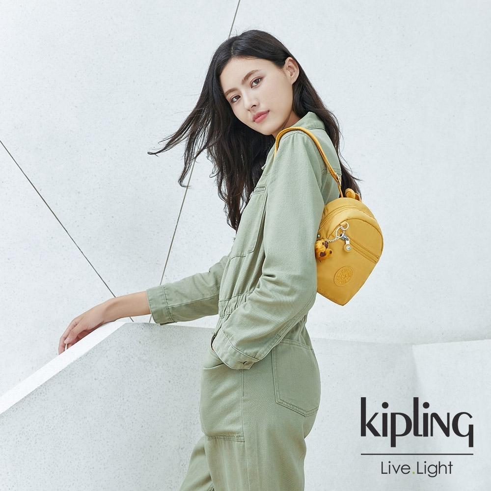 Kipling 鮮豔太陽黃簡約時尚拉鍊後背包-WINNIFRED