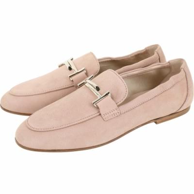 TOD'S Double T 金屬飾釦莫卡辛鞋(粉裸色)