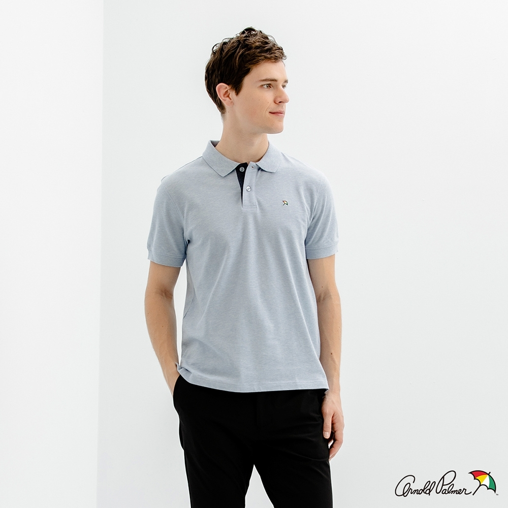 Arnold Palmer -男裝-經典小傘花紗彈性網眼POLO衫-天藍色