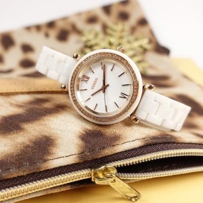 FOSSIL /  Carlie 細緻典雅 晶鑽錶圈 陶瓷手錶-白x玫瑰金框/30mm