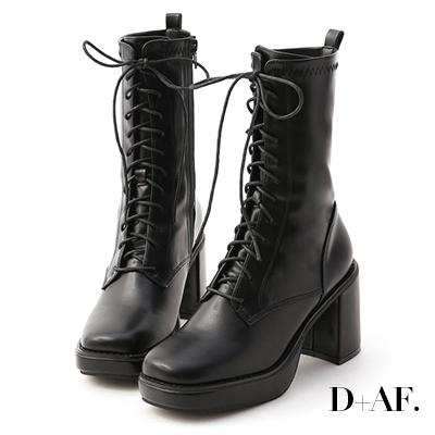D+AF 微辣個性.加厚水台方頭綁帶短靴*黑