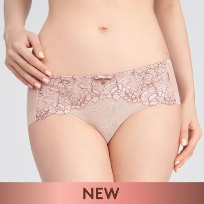 黛安芬-Premium浮雕玫瑰系列透明網布無痕中腰平口內褲 M-EL 波光橘