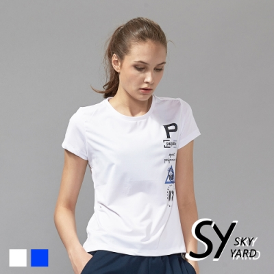 【SKY YARD 天空花園】個性印花網眼休閒運動造型T恤-白色