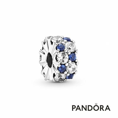 【Pandora官方直營】藍色配透明寶石固定釦