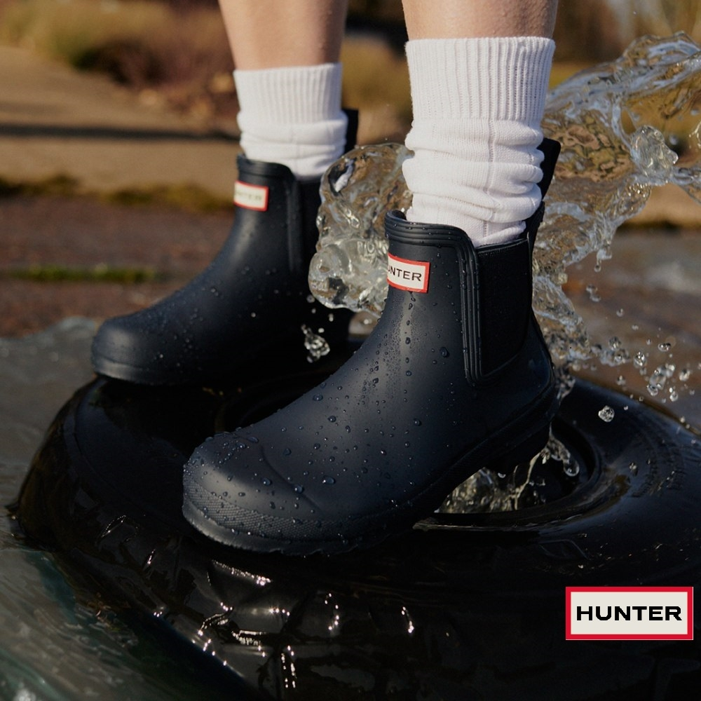 HUNTER - 女鞋 - Original新版切爾西霧面踝靴 - 藍