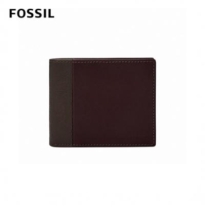 FOSSIL 母親節優惠 WARD 真皮帶翻轉證件格RFID男夾-深咖啡X酒紅色 ML4163201