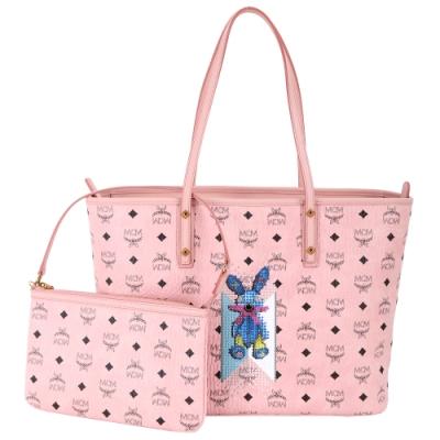 MCM Rabbit 施華洛世奇水鑽飾兔子印花購物包-中(附萬用包/粉色)