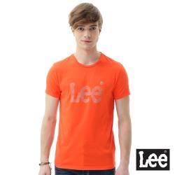 Lee 短袖T恤 灰點點膠印圓領 男 橘