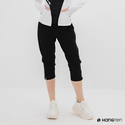 Hang Ten-女裝-恆溫多功能-REGULAR FIT標準四向彈力吸濕快乾抗曬七分運動長褲-黑色