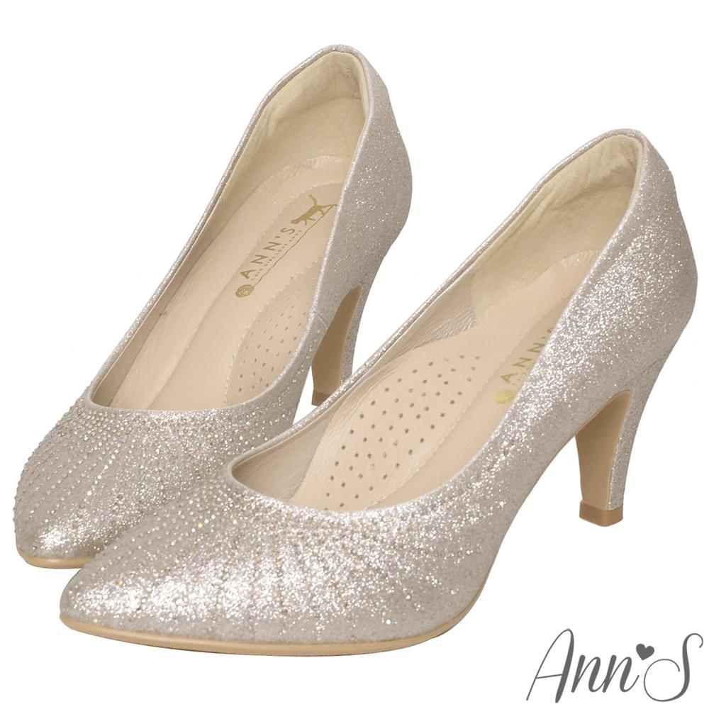 Ann'S幸福光芒-手工燙鑽尖頭婚鞋-金(版型偏小)