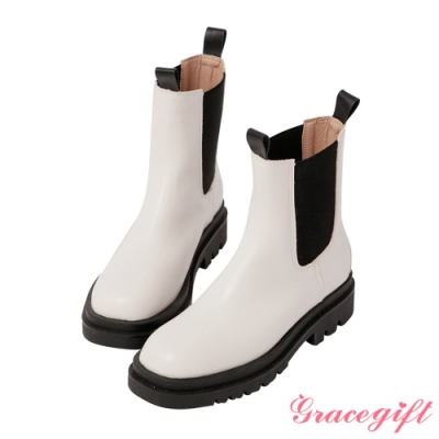 Grace gift-厚底切爾西低筒短靴 白