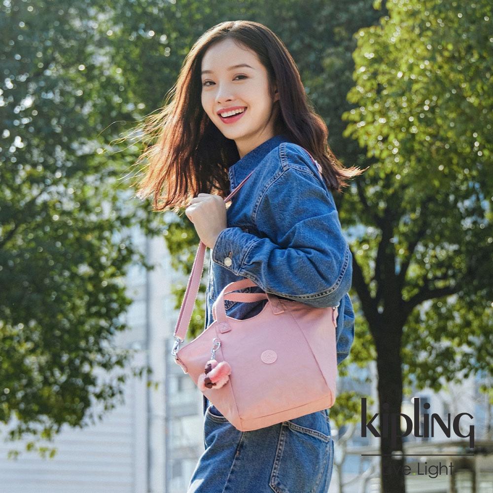 Kipling 玫瑰石英粉輕盈手提斜背包-NORI