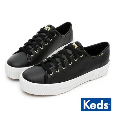 Keds TRIPLE KICK AMP 潮流Wave皮革厚底餅乾鞋-黑
