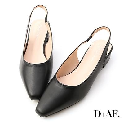 D+AF 粉彩夢境.微尖頭素面後空鞋*黑