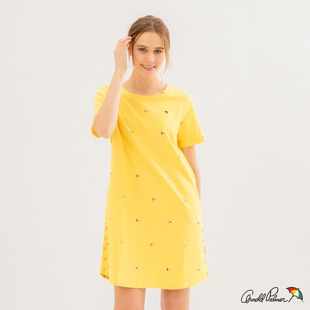 Arnold Palmer -女裝-棉麻海洋主題滿版洋裝-黃色