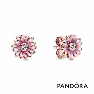 【Pandora官方直營】粉紅雛菊針式耳環