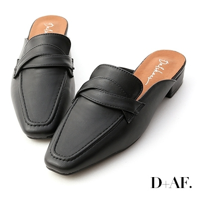 D+AF 圓弧線條.交疊設計低跟穆勒鞋*黑