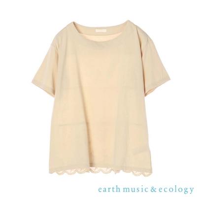 earth music  花邊蕾絲下擺分層式短袖T恤