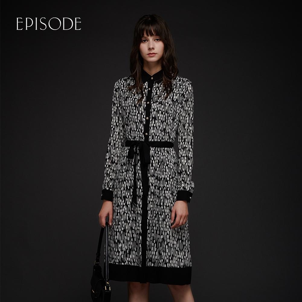 EPISODE - 黑白印花綁帶設計百搭長袖洋裝