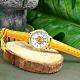 Disney 迪士尼 獅子王 辛巴面板 兒童錶 卡通錶 紋路皮革手錶-白x芥黃/32mm product thumbnail 1