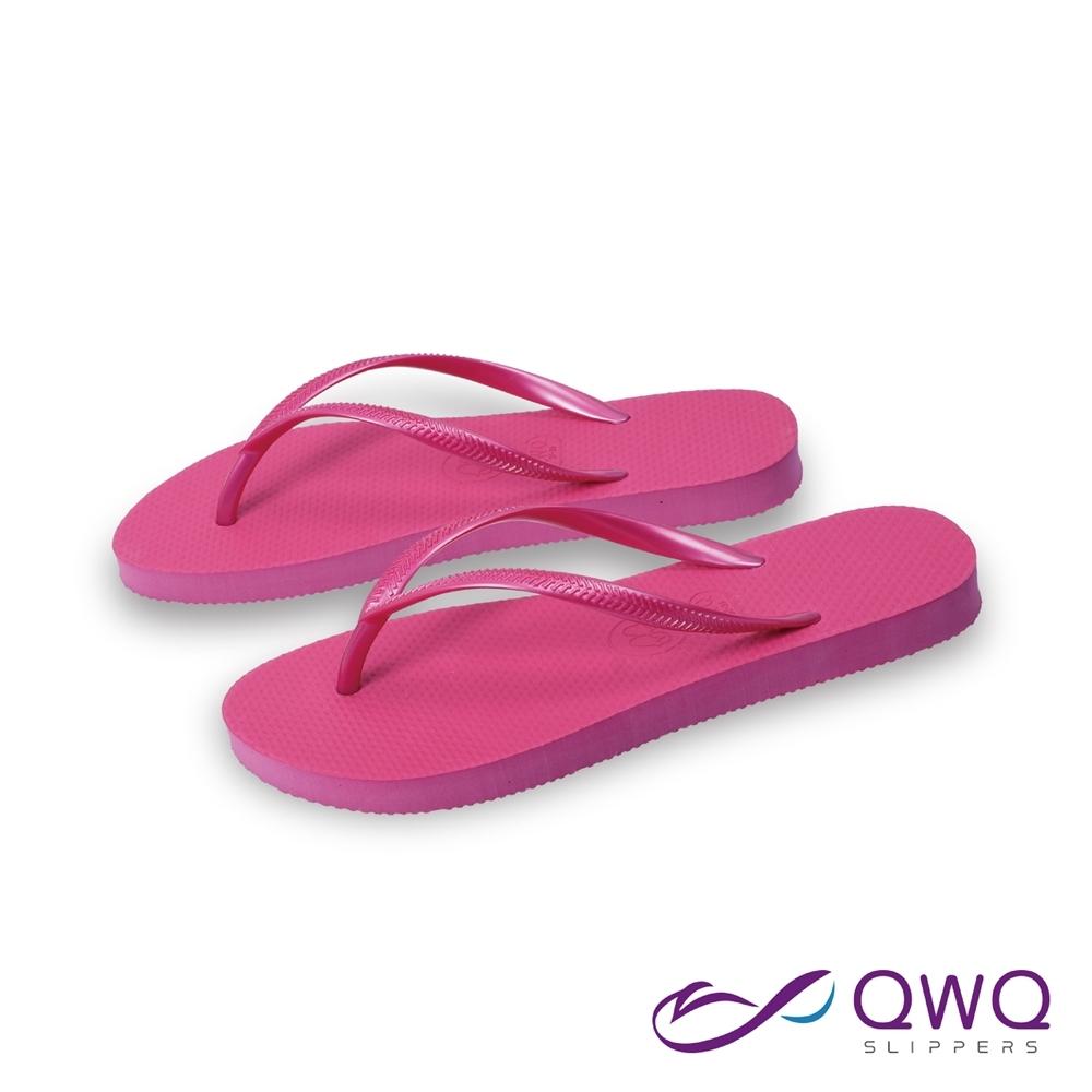 女款平底素面夾腳拖鞋-前低後高-衝浪玩水海邊必備-防滑不磨腳-莓果粉