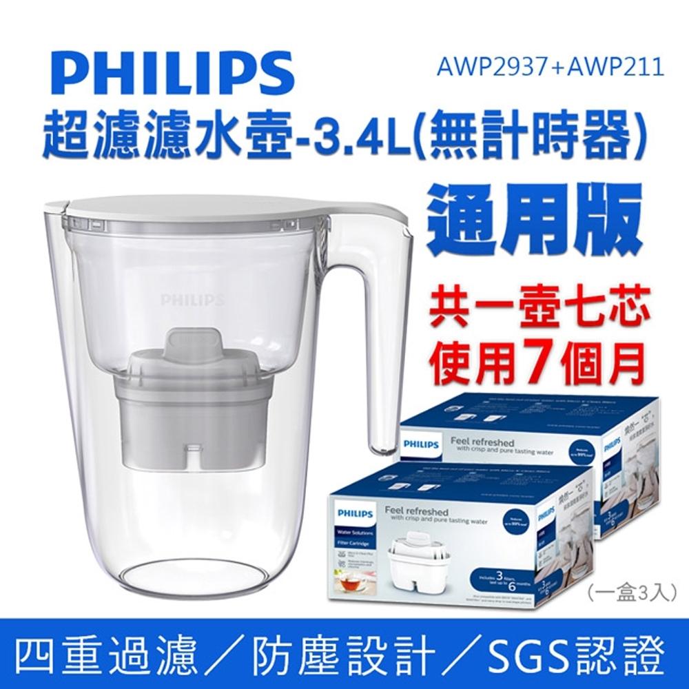PHILIPS 飛利浦 超濾濾水壺-3.4L(無計時器)通用版 AWP2937+濾芯x2【濾芯共7入】