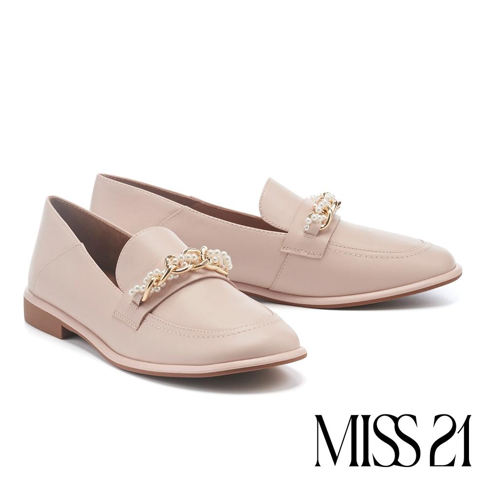 低跟鞋 MISS 21 優雅質感珍珠雙鏈牛皮樂福低跟鞋-粉