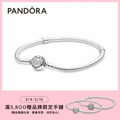 【Pandora官方直營】Moments愛心寶石釦頭手鏈