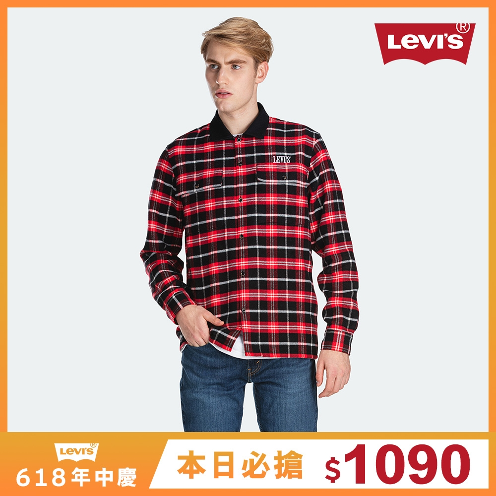 Levis 男款 法蘭絨格紋襯衫 精工刺繡Logo