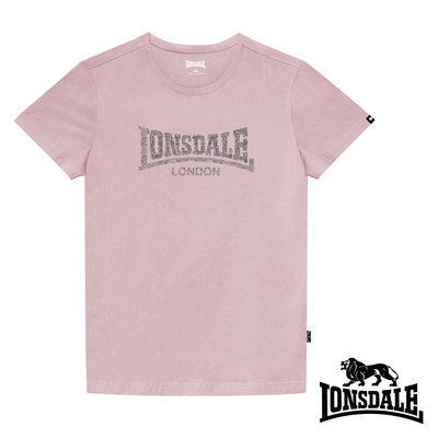 【LONSDALE 英國小獅】極簡植絨LOGO短袖T恤-櫻花粉LT003