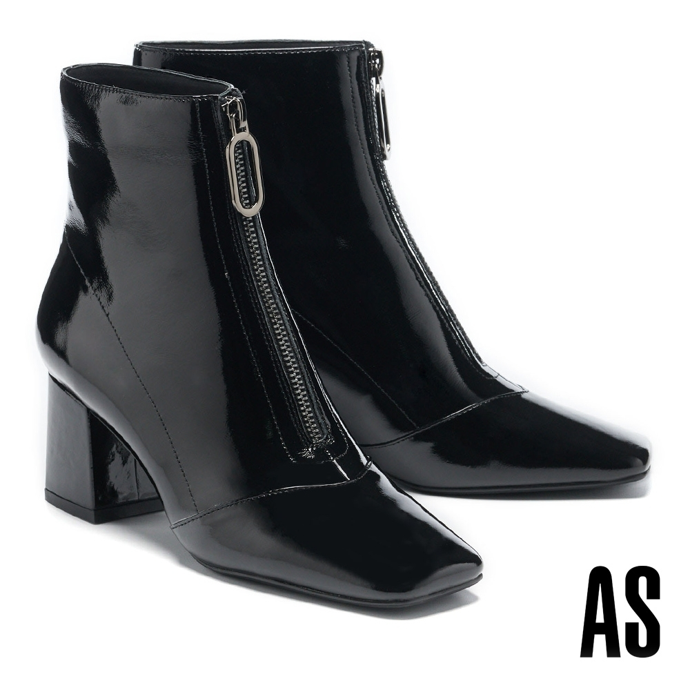 短靴 AS 摩登都會金屬拉鍊造型軟漆皮方頭高跟短靴-黑