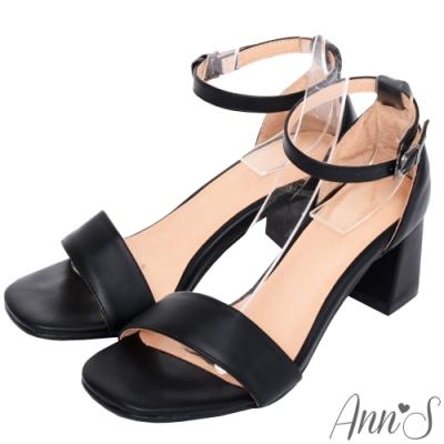 [時時樂限定]Ann'S不踩雷美腿製造機一字帶涼鞋-寬帶6公分中跟-5色