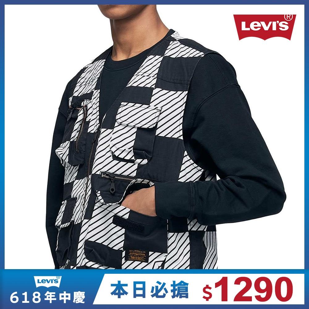 Levis 男款 工裝休閒背心 滑板系列 都會幾何拼接設計