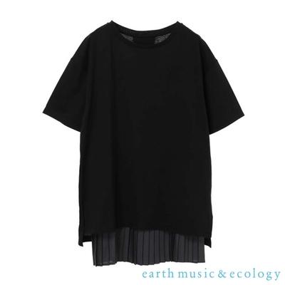 earth music 【SET ITEM】後開衩圓領短袖T恤+百摺長版背心