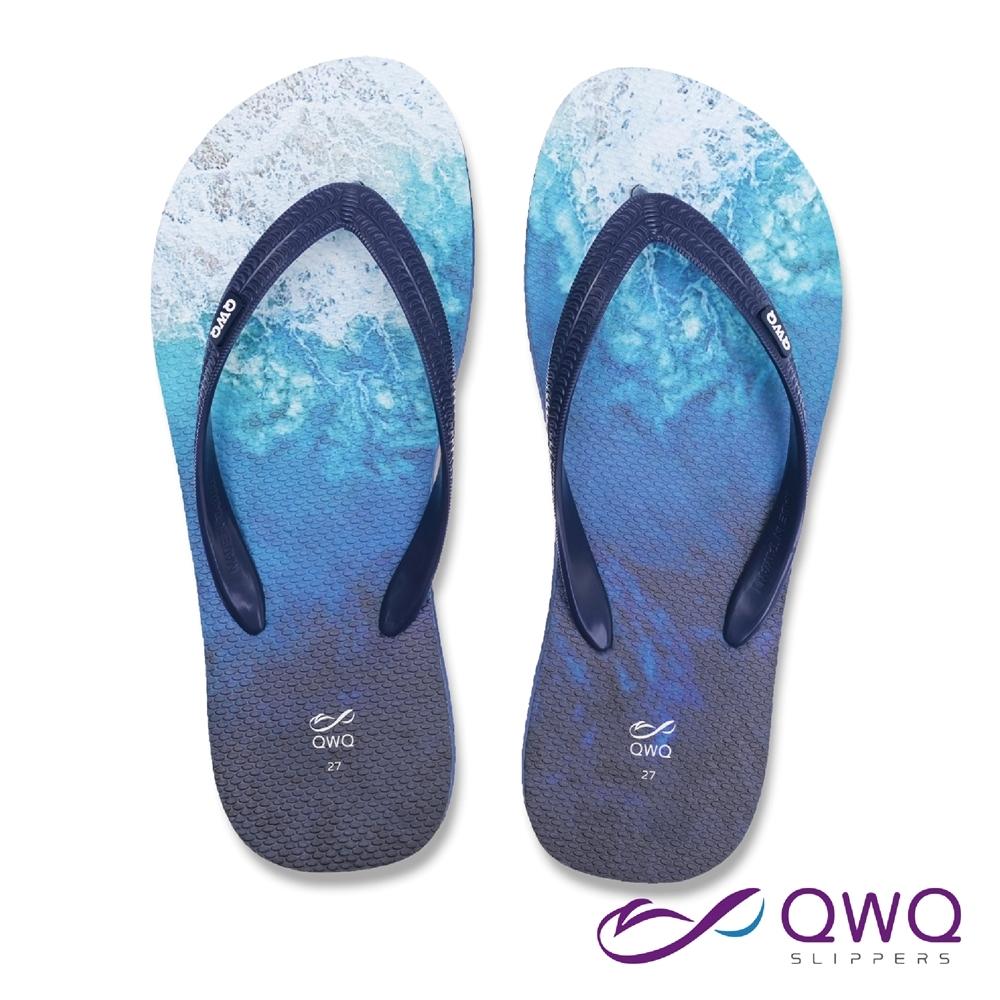 QWQ 男款休閒軟Q夾腳拖鞋-鞋帶保固-防滑耐磨-海灘拖鞋-海藍-藍(ABBC00304)