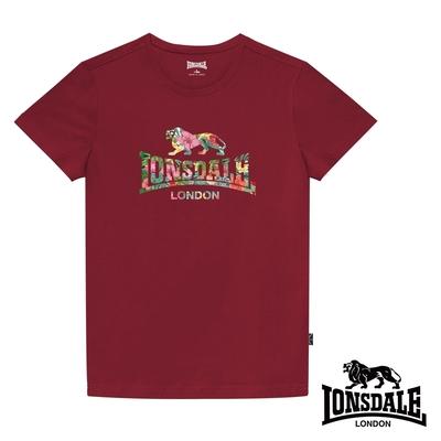 【LONSDALE 英國小獅】夏日扶桑花LOGO短袖T恤-暗紅LT002