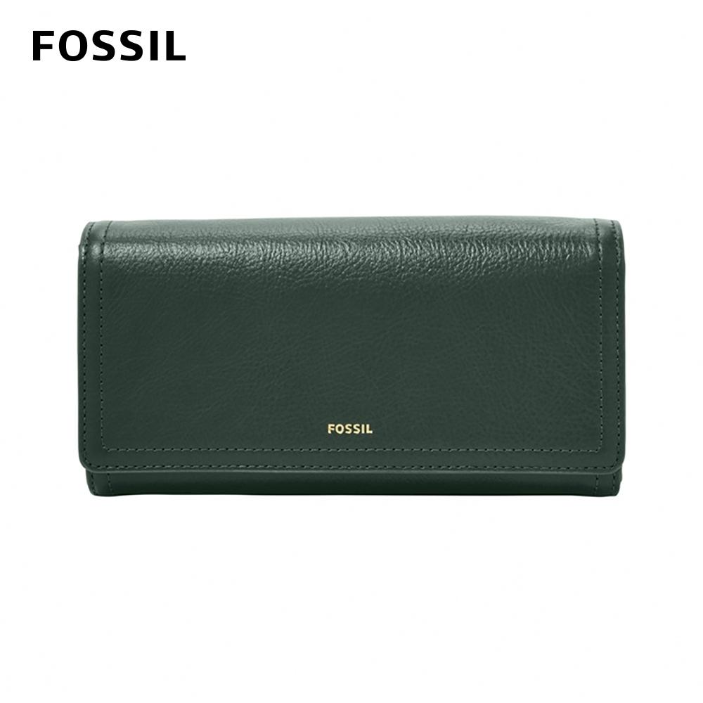 FOSSIL LOGAN 三折真皮拉鍊RFID長夾-雲杉綠色 SL7833366