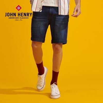 【JOHN HENRY】水洗五分牛仔短褲-藍