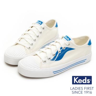 Keds CREW KICK 撞色Logo綁帶帆布鞋-藍
