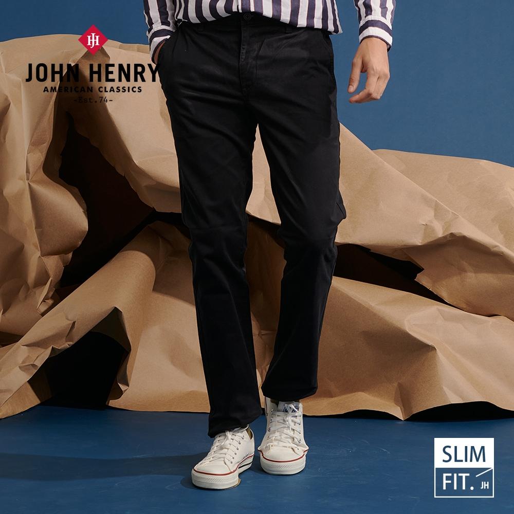 【JOHN HENRY】復古休閒合身長褲-兩色選