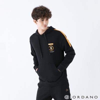 GIORDANO  男裝YOUTH連帽T恤 - 11 標誌黑
