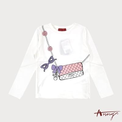 Annys安妮公主-俏皮鍊條斜背圖案包秋冬款長袖上衣*8426白色